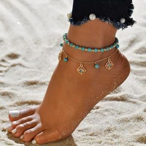 Two layer bohemian ankle bracelet.